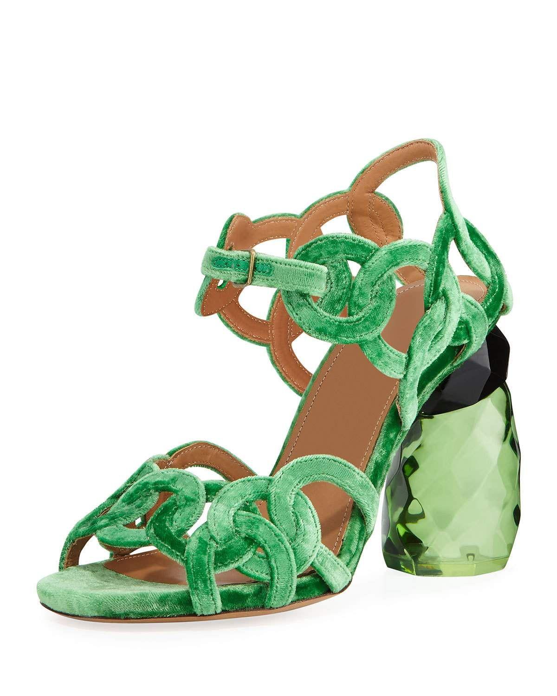 90cff82b21a99e DRIES VAN NOTEN VELVET RINGS RESIN-HEEL SANDAL.  driesvannoten  shoes