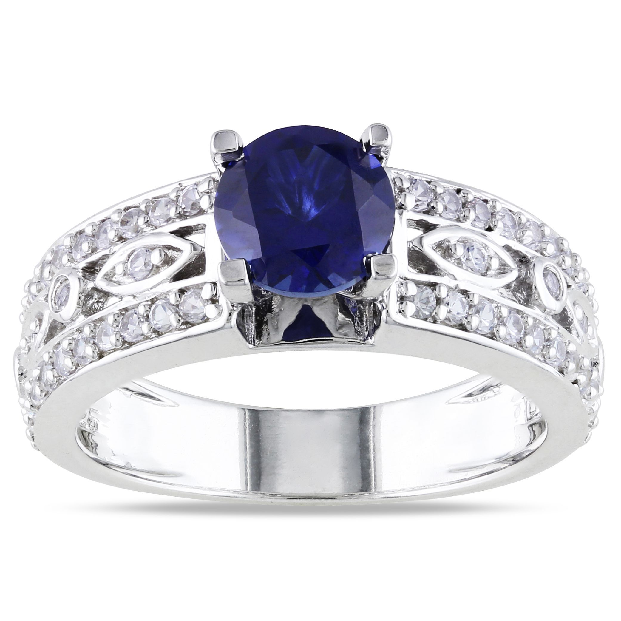 Miadora Sterling Silver Created Blue Sapphire Engagement Ring (blue  Sapphire Size 8), Women's
