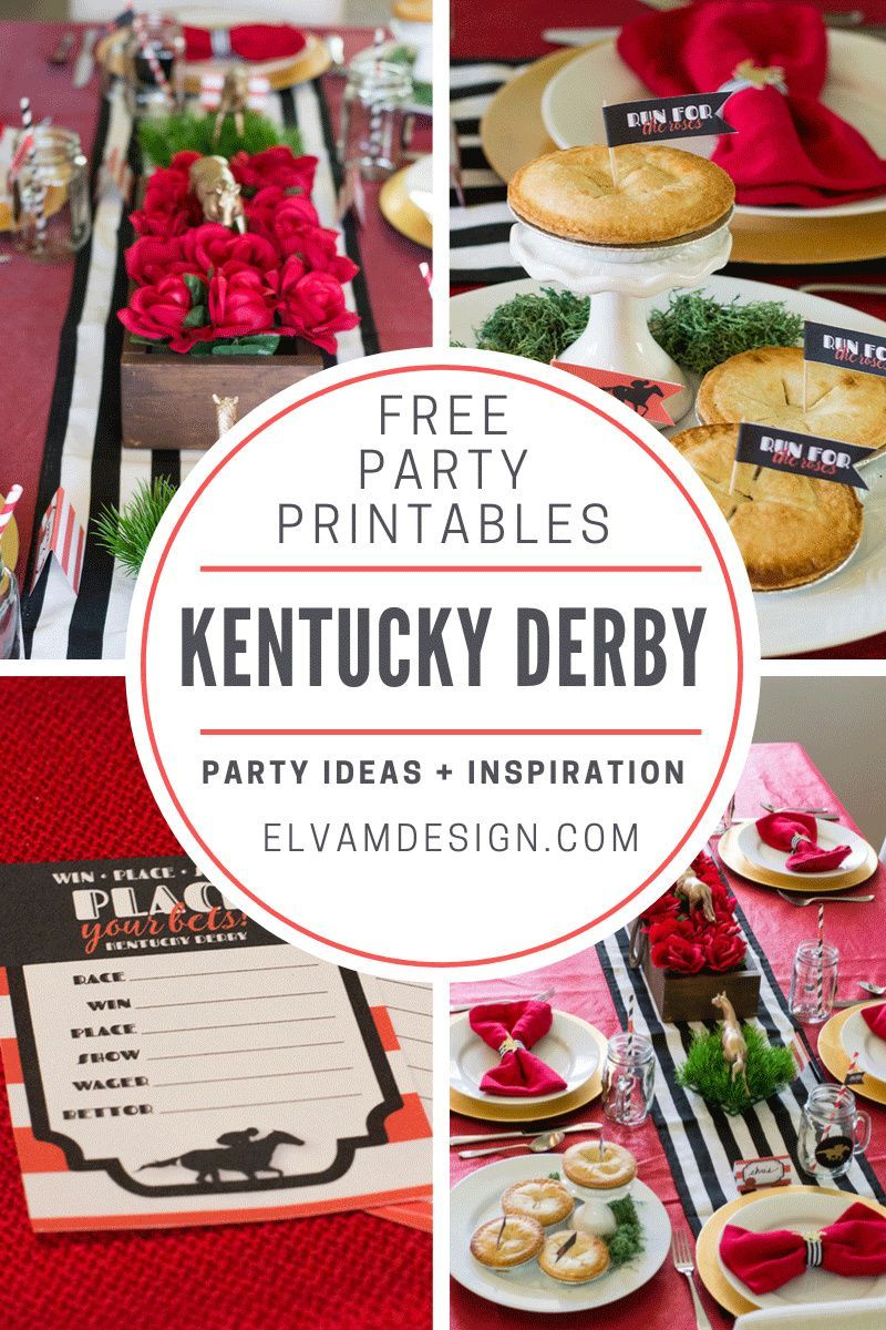Kentucky Derby Party With Free Printables Elva M Design Studio In 2020 Kentucky Derby Party Derby Party Party Printables Free