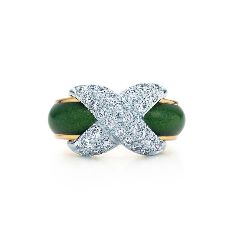 Tiffany & Co. Schlumberger® Pavé X ring of green enamel and diamonds in platinum and 18k gold. #TiffanyPinterest