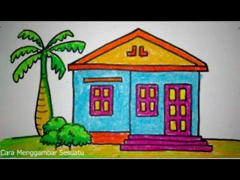 Cara Menggambar Rumah Mungil 3 Youtube Pemandangan Gambar Lukisan