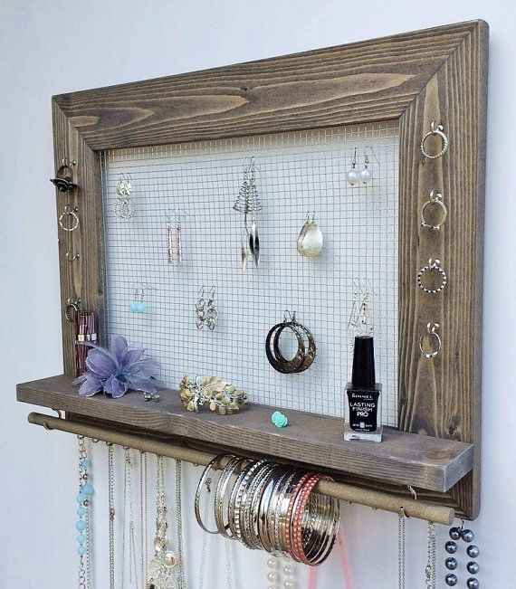 Jewelry Organizer Barn Wood Wall Hanging Display With Shelf Storage For Earrings Bracelets Necklaces And Rings Jewlery Organizer Wooden Wall Hangings Diy Jewelry Holder
