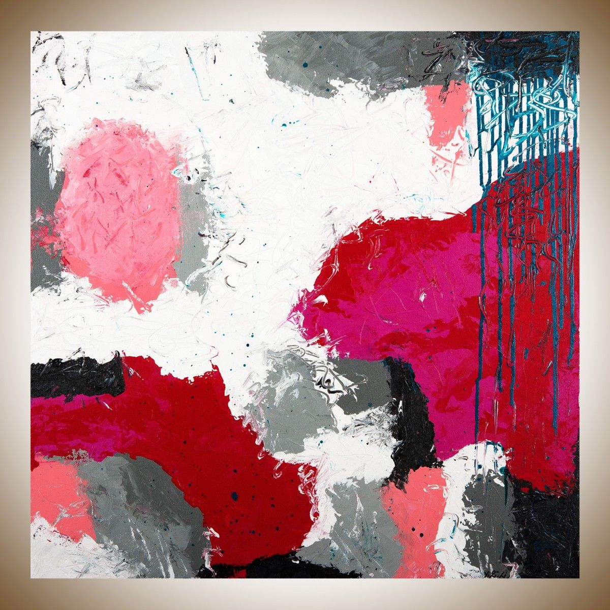 Playful by QIQIGallery x Abstract painting red white grey blue painting original art painting on canvas wall art wall Decor home decor wall hanging Abstract ... & Playful by QIQIGallery 30