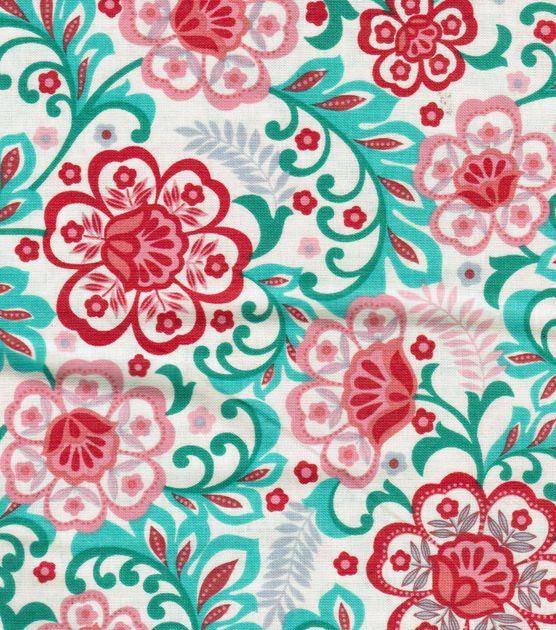 Keepsake Calico Fabric- Cream Floral Scroll - Joann fabrics
