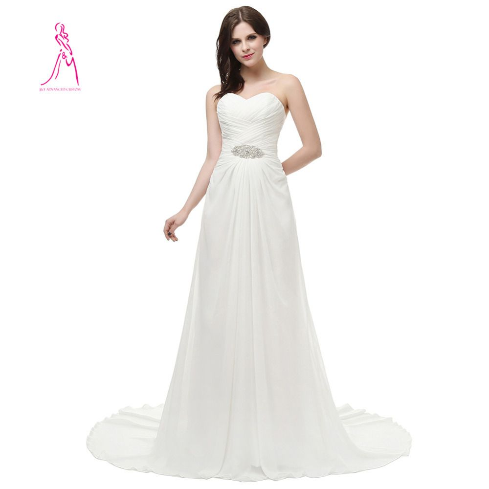 Wedding dress with bow on back  Click to Buy ucuc JYDress New Sexy Sweetheart Chiffon Beaded Pleat