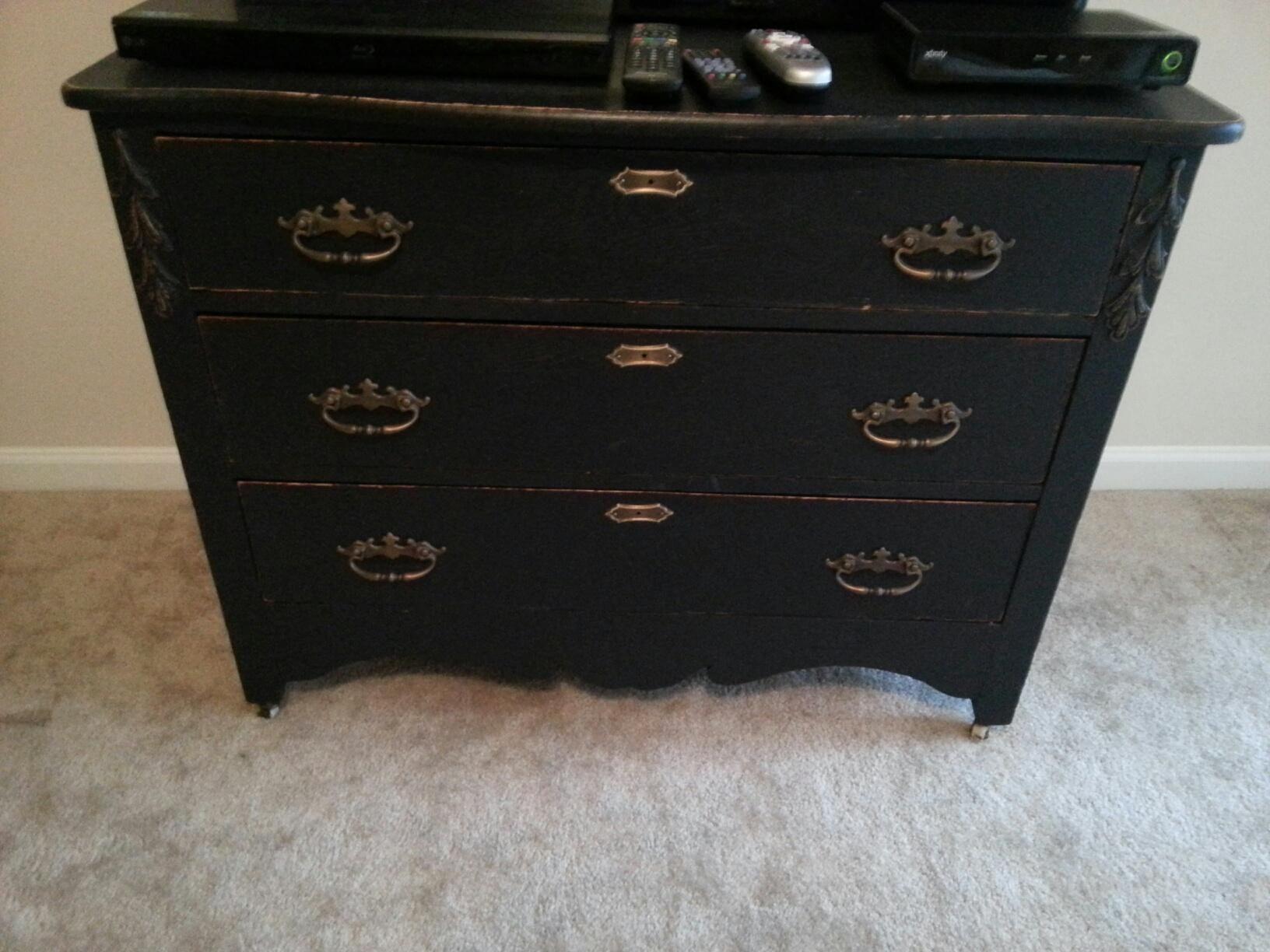 Antique oak dresser painted black and distressed kept