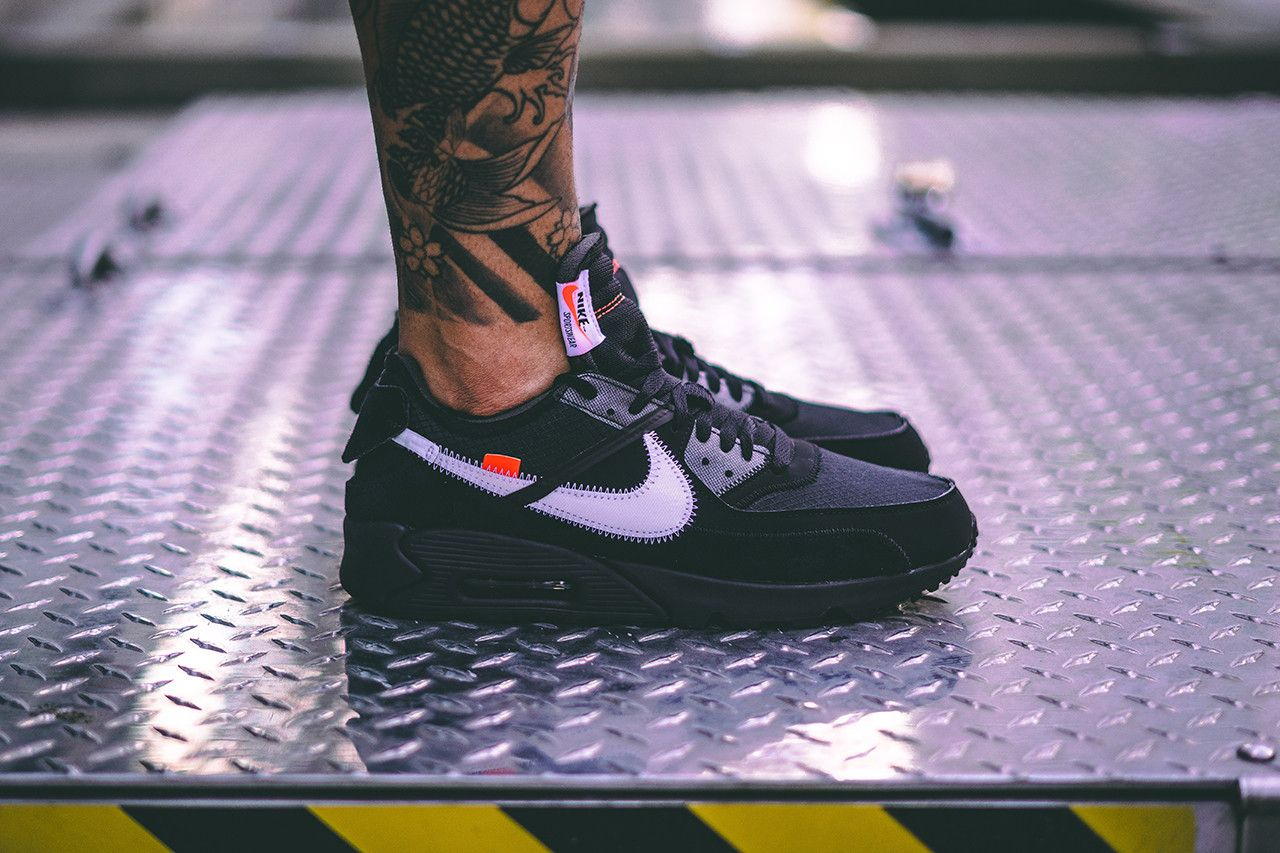 An On Foot Look At The Off White X Nike Air Max 90 Black Com