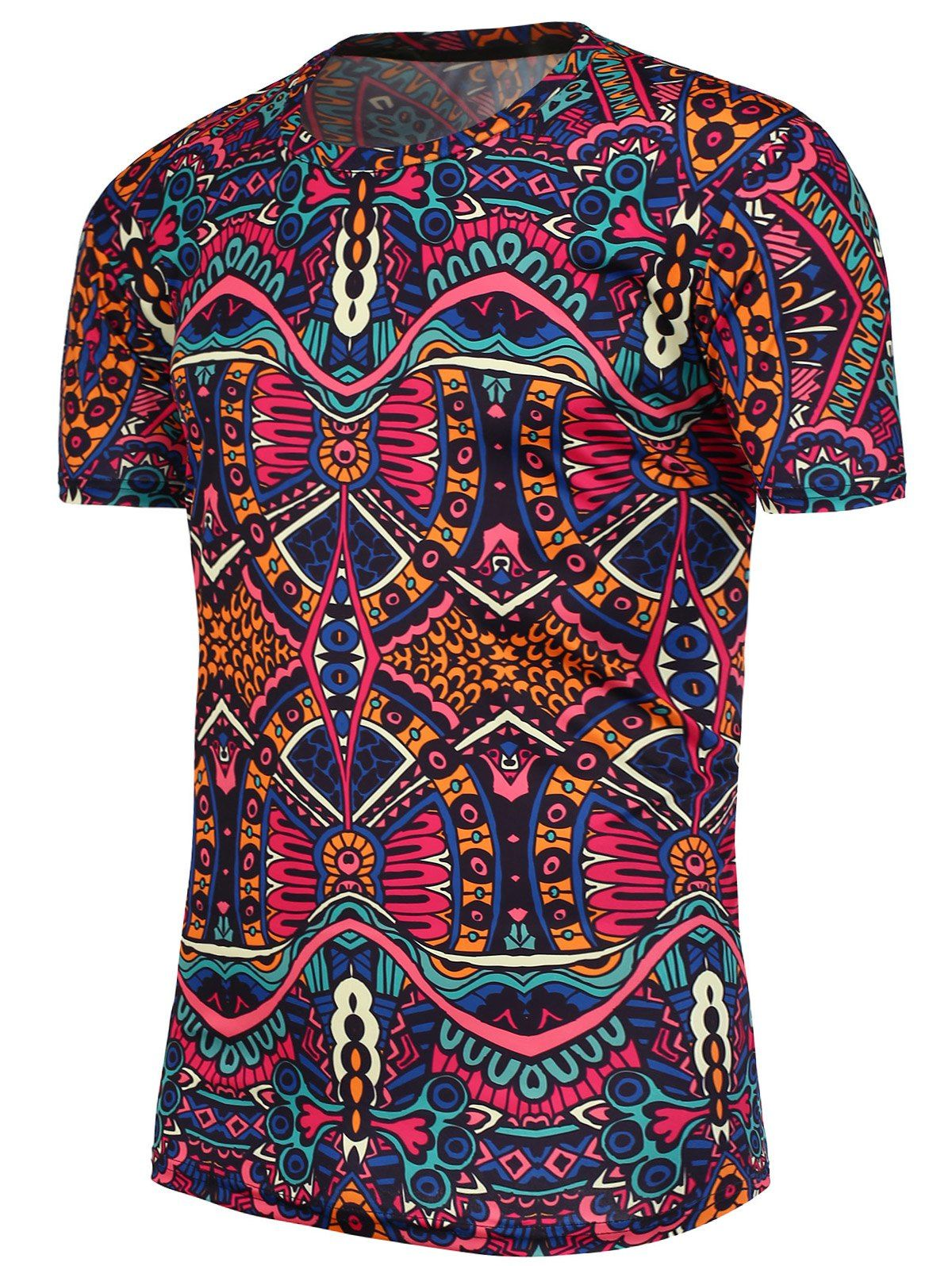 National pattern short sleeves tshirt menus fashion men closet
