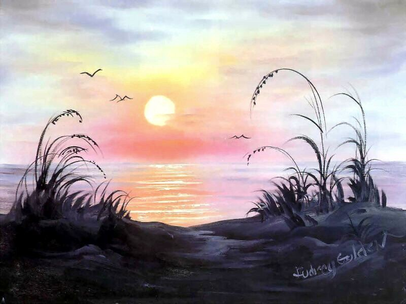 Ocean Sunrise Bob Ross Art Bob Ross Paintings Landscape Paintings