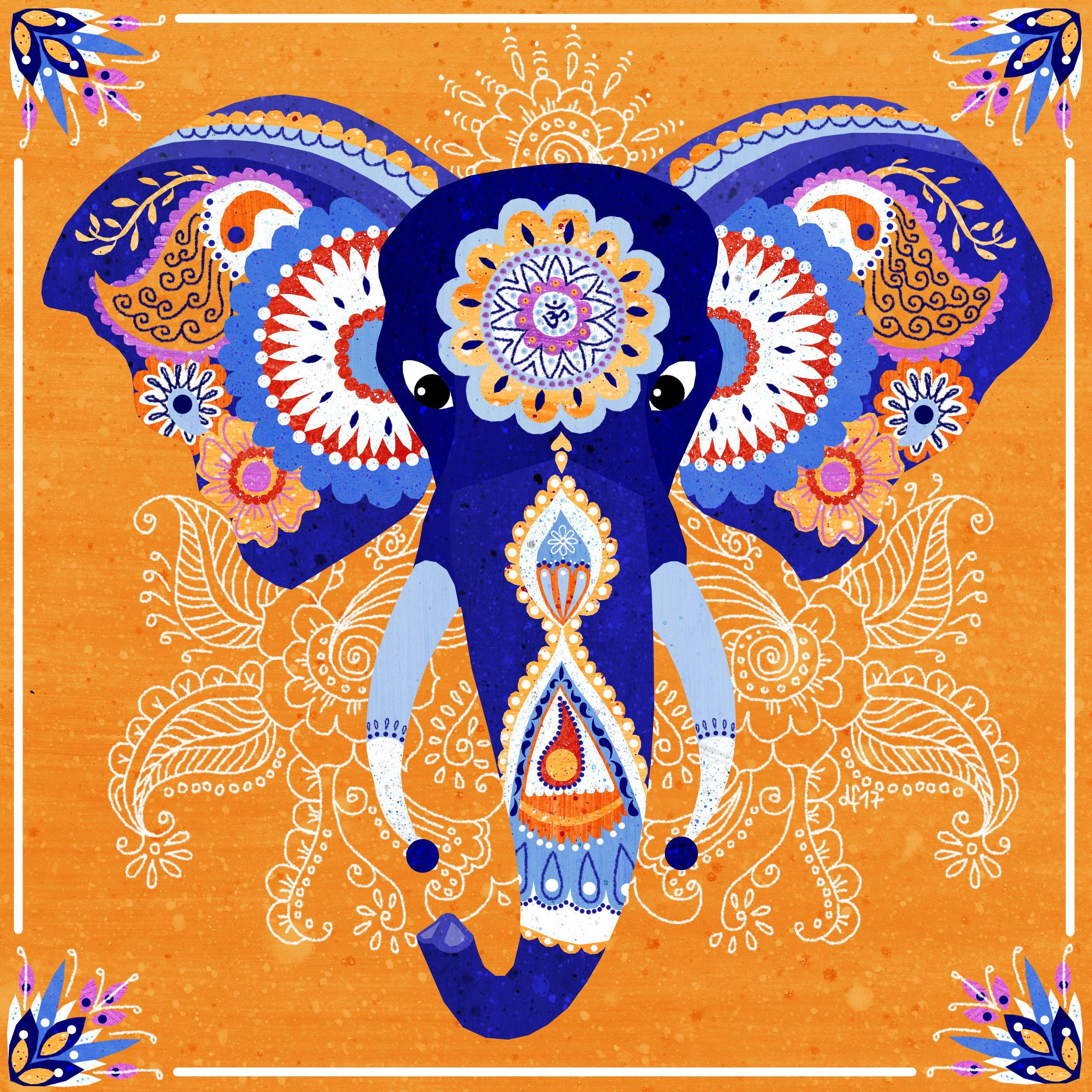 Indian Elephant illustration by Daniela Faber 2017 blue