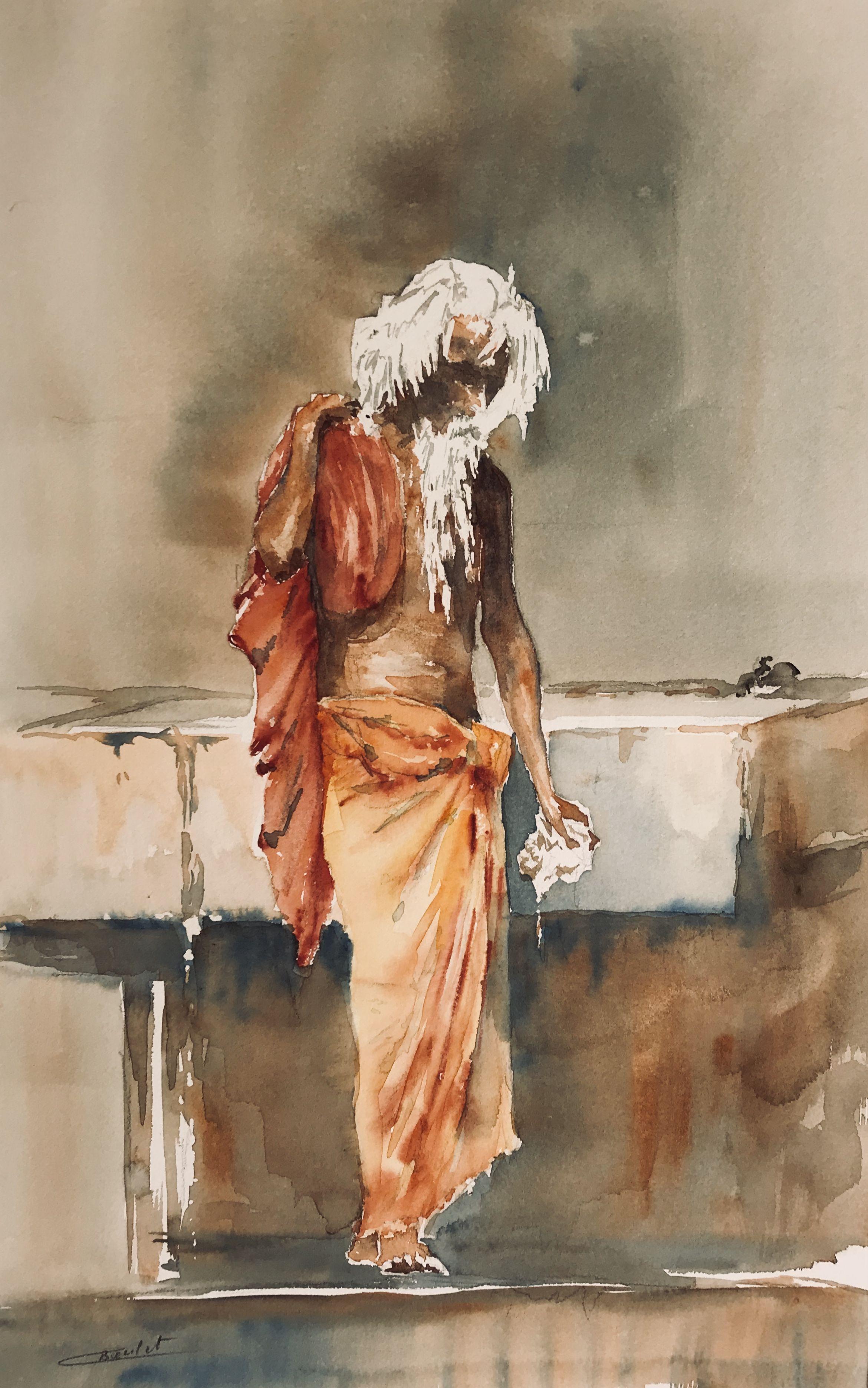 Claude Boulet Voyage En Inde Aquarel Schilderij Schilderij