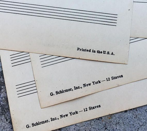 Vintage Sheet Music Manuscript Paper 1940s blank sheets for GH - music staff paper template