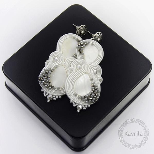 Kolczyki Slubne Sutasz Soutache Handmade Biale 4420695851 Oficjalne Archiwum Allegro Etsy Earrings Soutache Soutache Jewelry