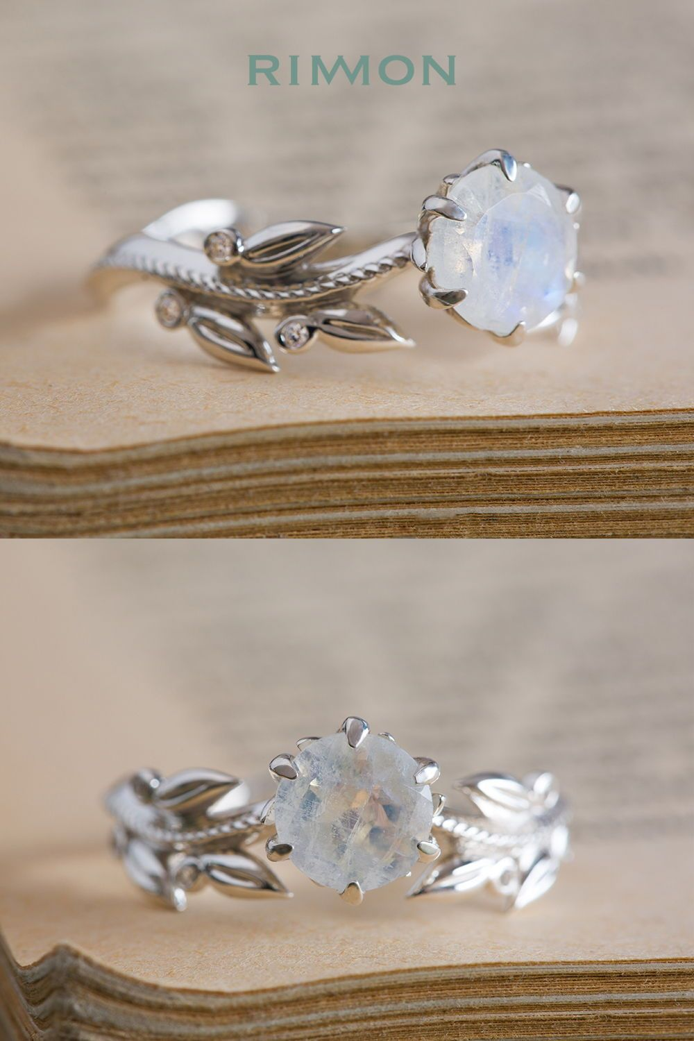Moonstone and diamond leaf ring wedding rings by rimon pinterest