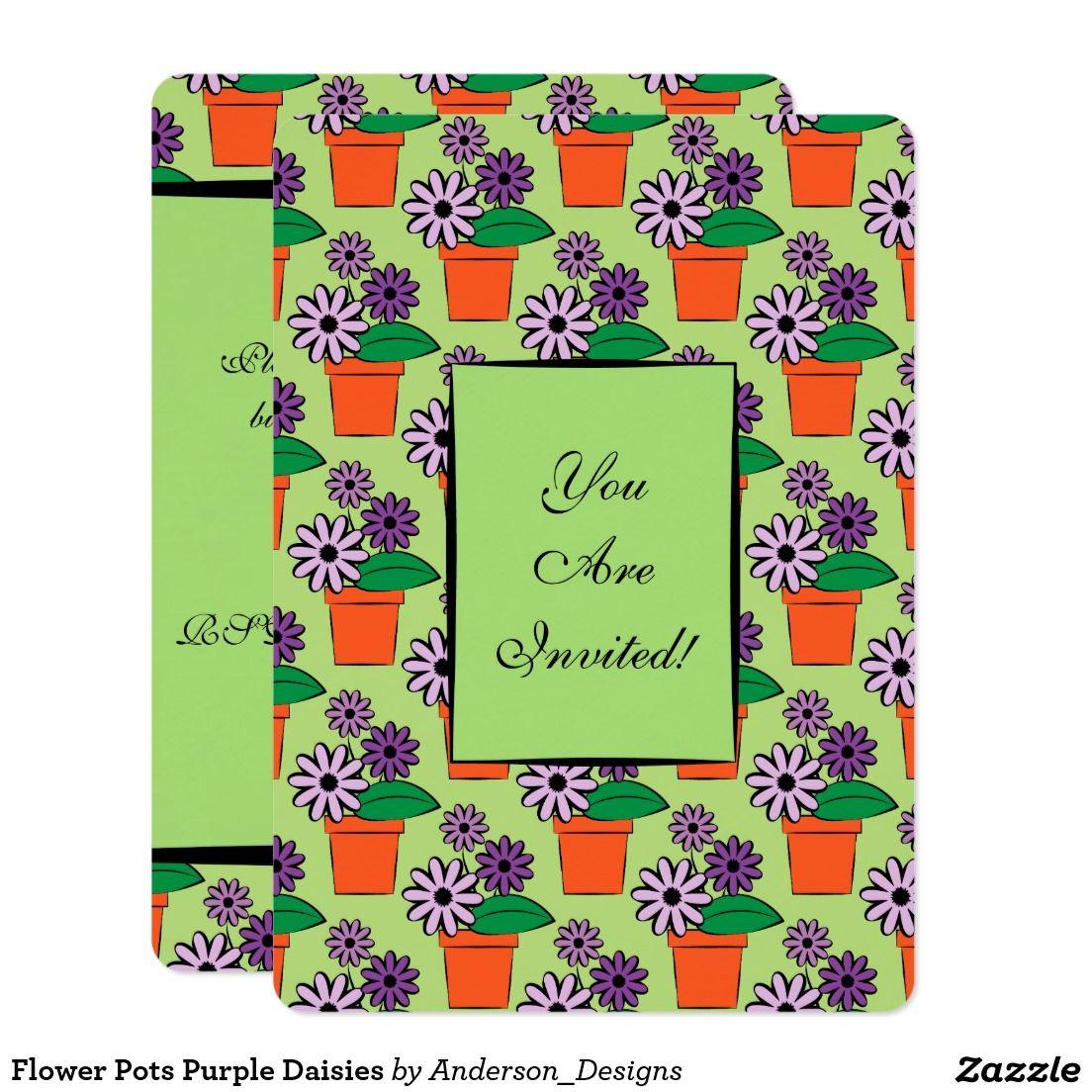 Flower Pots Purple Daisies Custom Invitations by @andersondesigns #Invitations