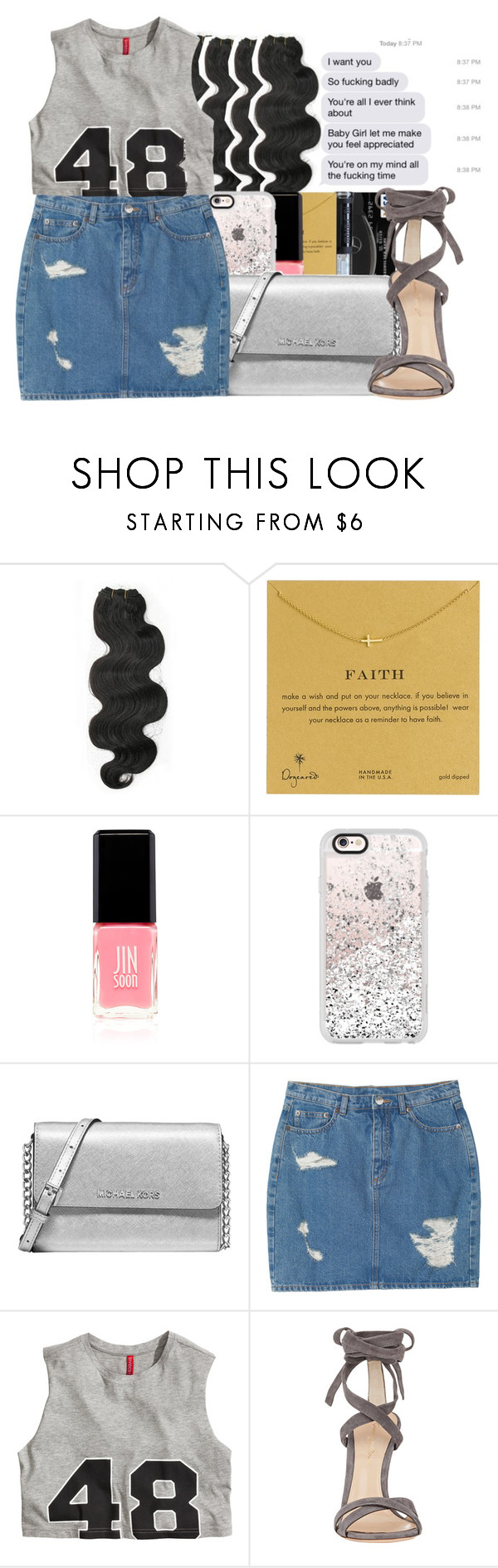 """""""Champagne Kisses hold me in your lap of luxury """" by daddyslittlevixen ❤ liked on Polyvore featuring &K, Dogeared, Jin Soon, Casetify, Michael Kors, Monki, H&M and Gianvito Rossi"""