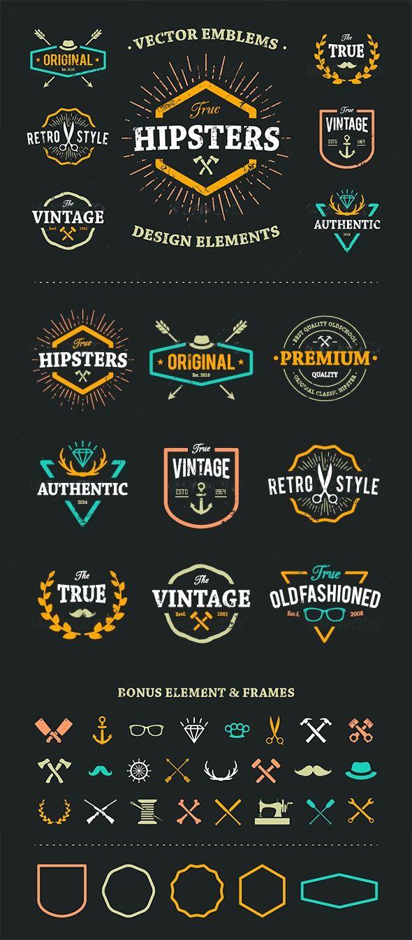 True Hipster Vector Set Vintage logo design, Logos design