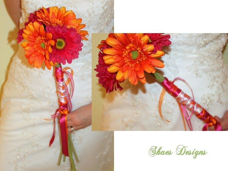 Pink and orange gerberas | Gerbera daisy wedding flowers ...