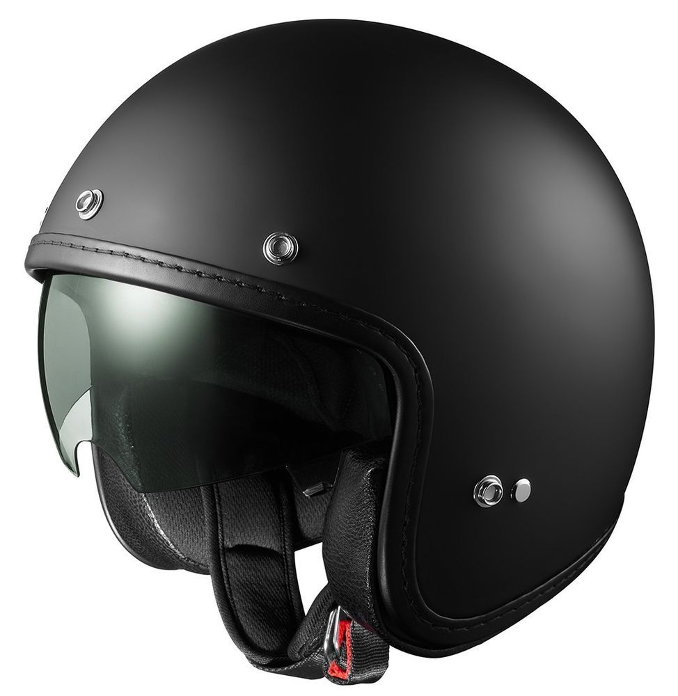 c378347f GLX DOT Open Face Scooter Bobber Motorcycle Helmet w/ Sun Shield Matte  Black #GLX