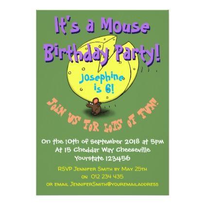 Cute Mouse Cartoon 6 Years Birthday Invitation