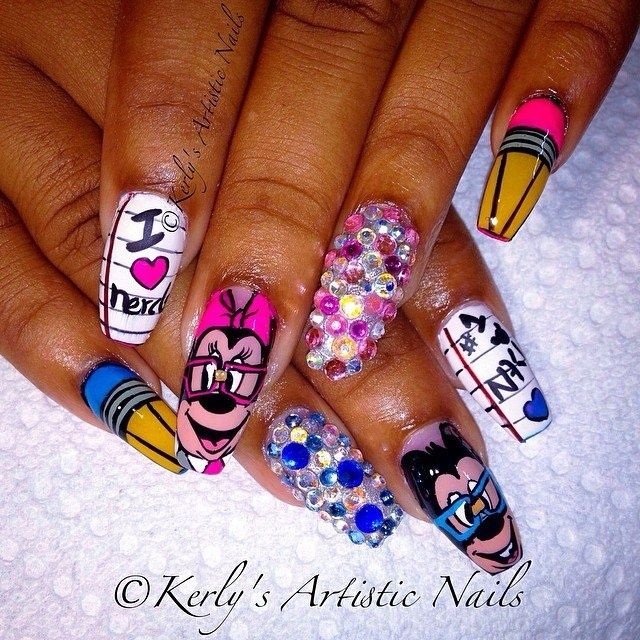 Minnie and mickey mouse i love nerds nail art gallery nails minnie and mickey mouse i love nerds nail art gallery prinsesfo Choice Image