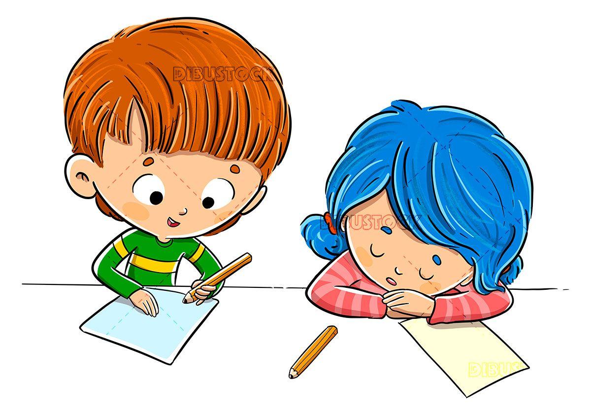 Children In Class Doing Homework And Tired Kids Clipart Homework Childrens Stories