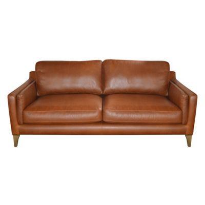 Debenhams Large Tan Leather Mathias Sofa With Light Wood Feet