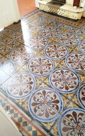 Victorian Encaustic Tile Hallway After Restoration In Chester
