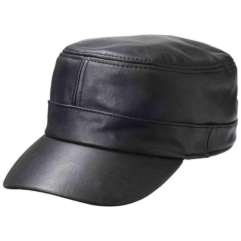 6f93df14320 New Mens Womens Black Solid Leather Biker Flat Cap Adjustable Motorcycle Hat