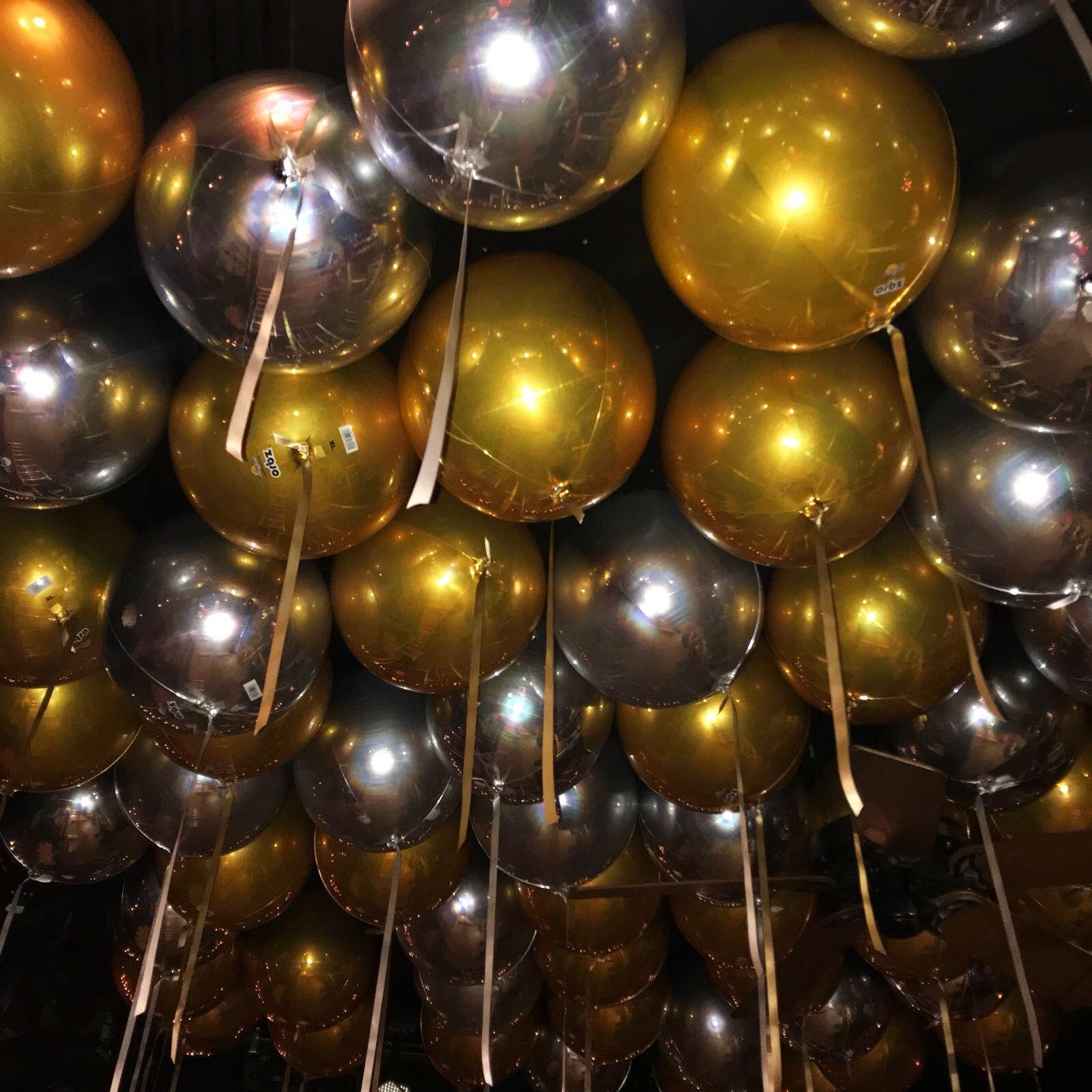 Balloon Ceiling Gold And Silver Theme Metallic Balloons
