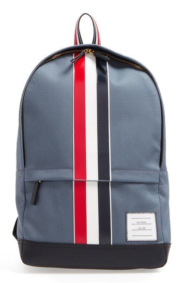 65ed3244d3 THOM BROWNE Stripe Leather Backpack.  thombrowne  bags  leather  canvas   backpacks  cotton