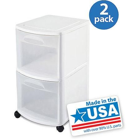 Sterilite  Drawer Cart White Set Of    L X