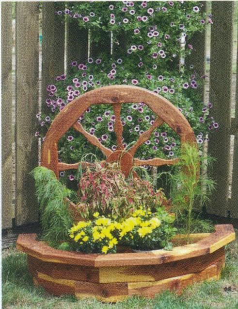 Amish Wooden Wagon Wheel Garden Planter Flower Box Yard Decor Large New
