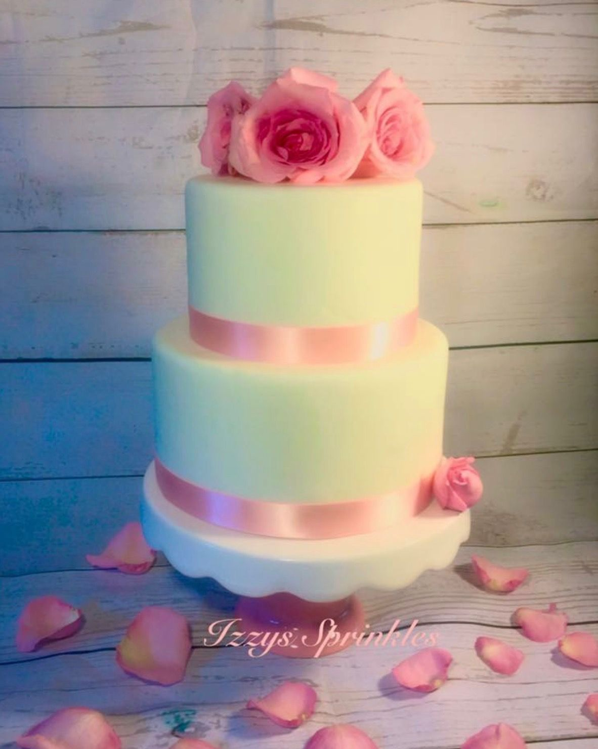 Pink and White Elegant Wedding Cake Fresh roses Fondant | Izzy\'s ...