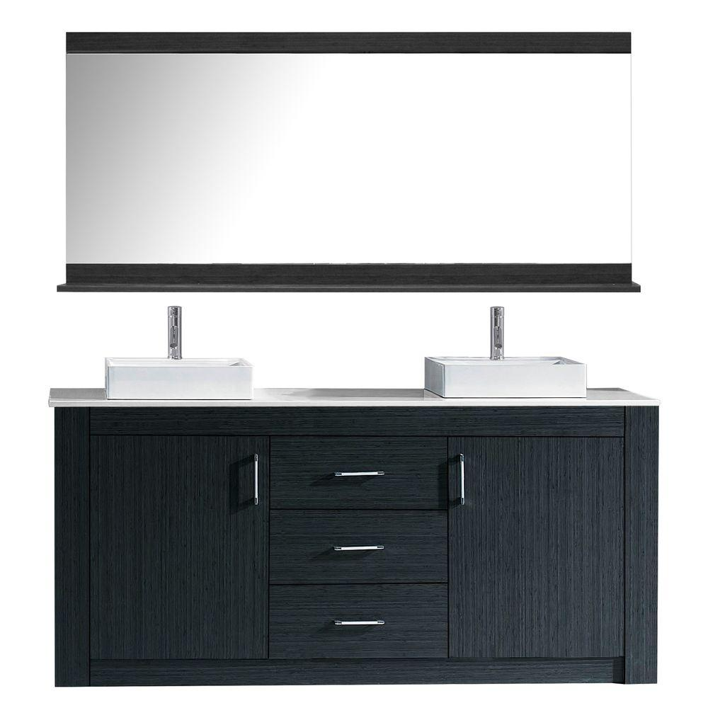 Virtu Usa Tavian 60 In W Bath Vanity In Gray With Stone Vanity Top In White With Square Basin And Mirror And Faucet Kd 90060 S Gr The Home Depot Double Vanity Bathroom Double