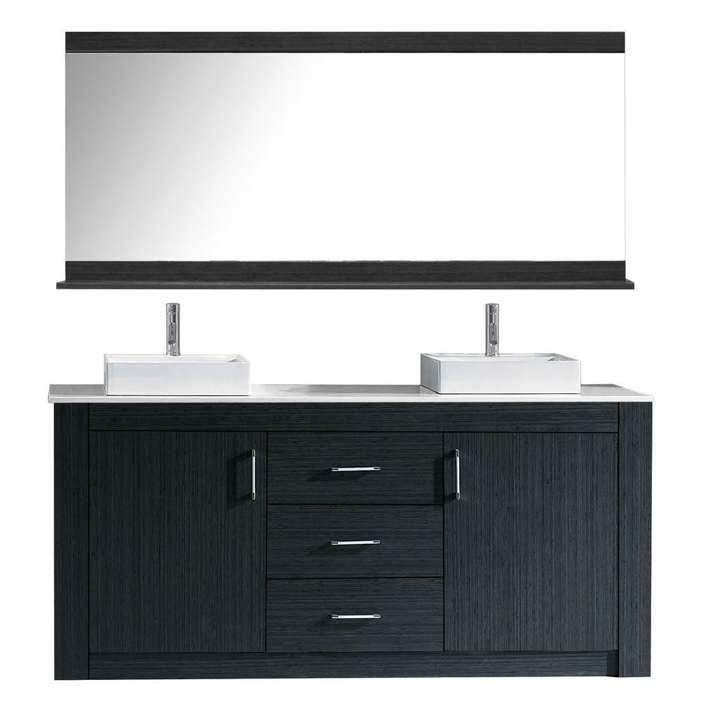 Virtu Usa Tavian 60 In W Bath Vanity In Gray With Stone Vanity