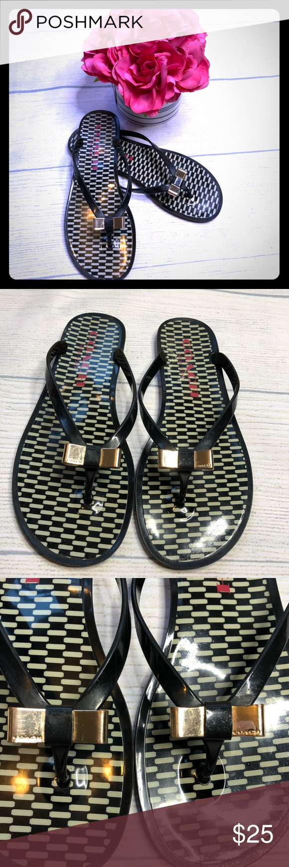 4e0dc85c445b8d COACH LANDON Size 9 Cute Bow flip Flops They are a size 9!! Material