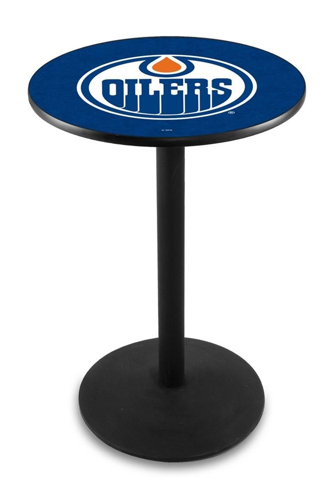 Edmonton Oilers Pub Table With Black Base and Edge