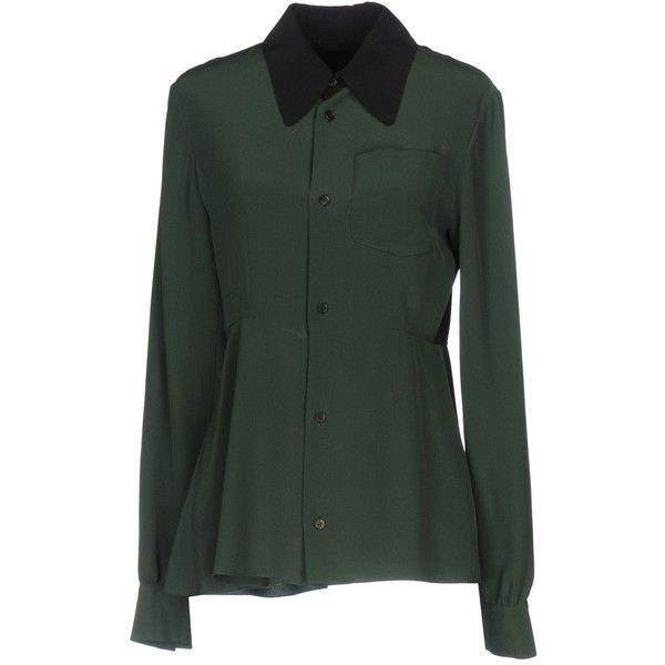 Marni Shirt ($450) ❤ liked on Polyvore featuring tops, dark green, long sleeve shirts, marni, dark green top, long-sleeve shirt and extra long sleeve shirts