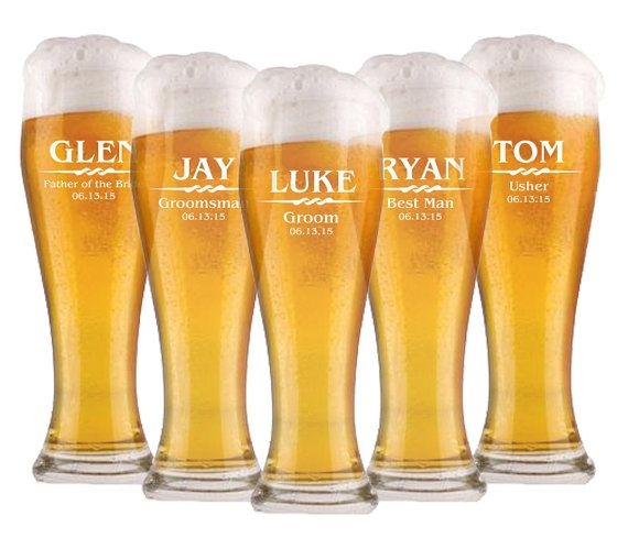 Wedding Party Favor Groomsmen Glasses Beer Glass Personalized Custom Bar Glass Wedding Party Gift Personalized Beer Glass Groomsmen Gift