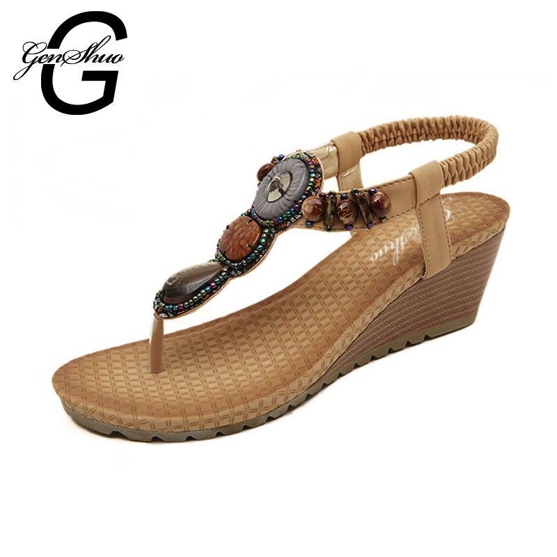 f44c5179a 2017 Bohemia T-Strap Women Sandals Summer Vintage Rhinestone Woman Flip  Flops Beach Shoes Comfortable
