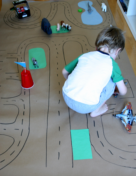 paper airport-great kid project, you could do a paper grocery store, paper train station, paper ANYTHING! so fun. a paper neighborhood...