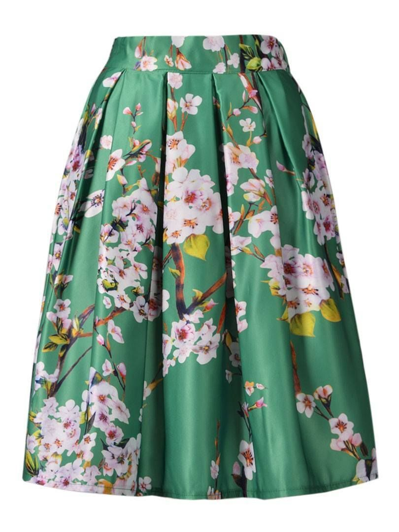 b36a3fd05 Floral Print High Waisted Midi Skirt | Fashion: Skirts♡ | Skirt ...