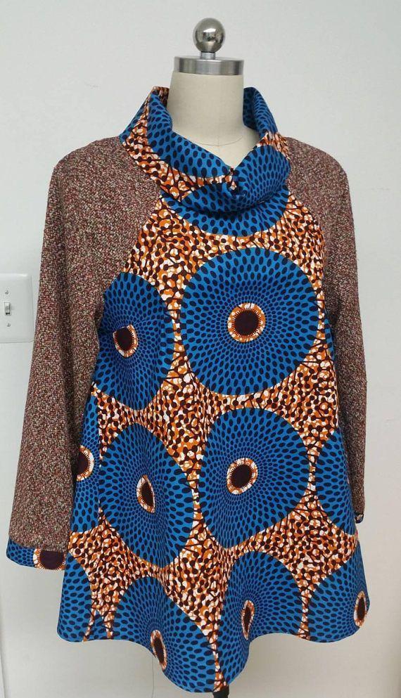 Dashki Fabric African Fashion Ankara Kitenge African: KNYTWAX Collection. African Print Knit Flattering Top