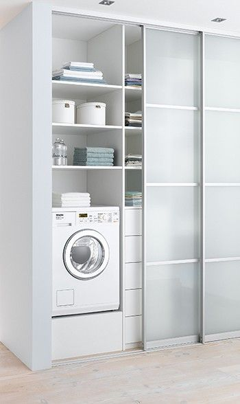 The opaque sliding doors keeps the laundry hidden when not in use and the room neat.