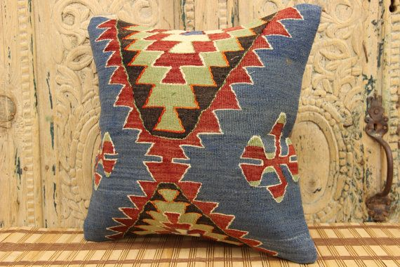 Handmade Kilim Pillow 16 x 16 Accent Pillow by kilimwarehouse