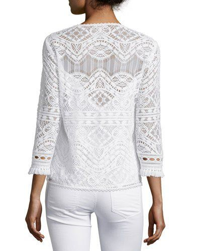 TC0TE Nanette Lepore 3/4-Sleeve Lace Embroidered Top