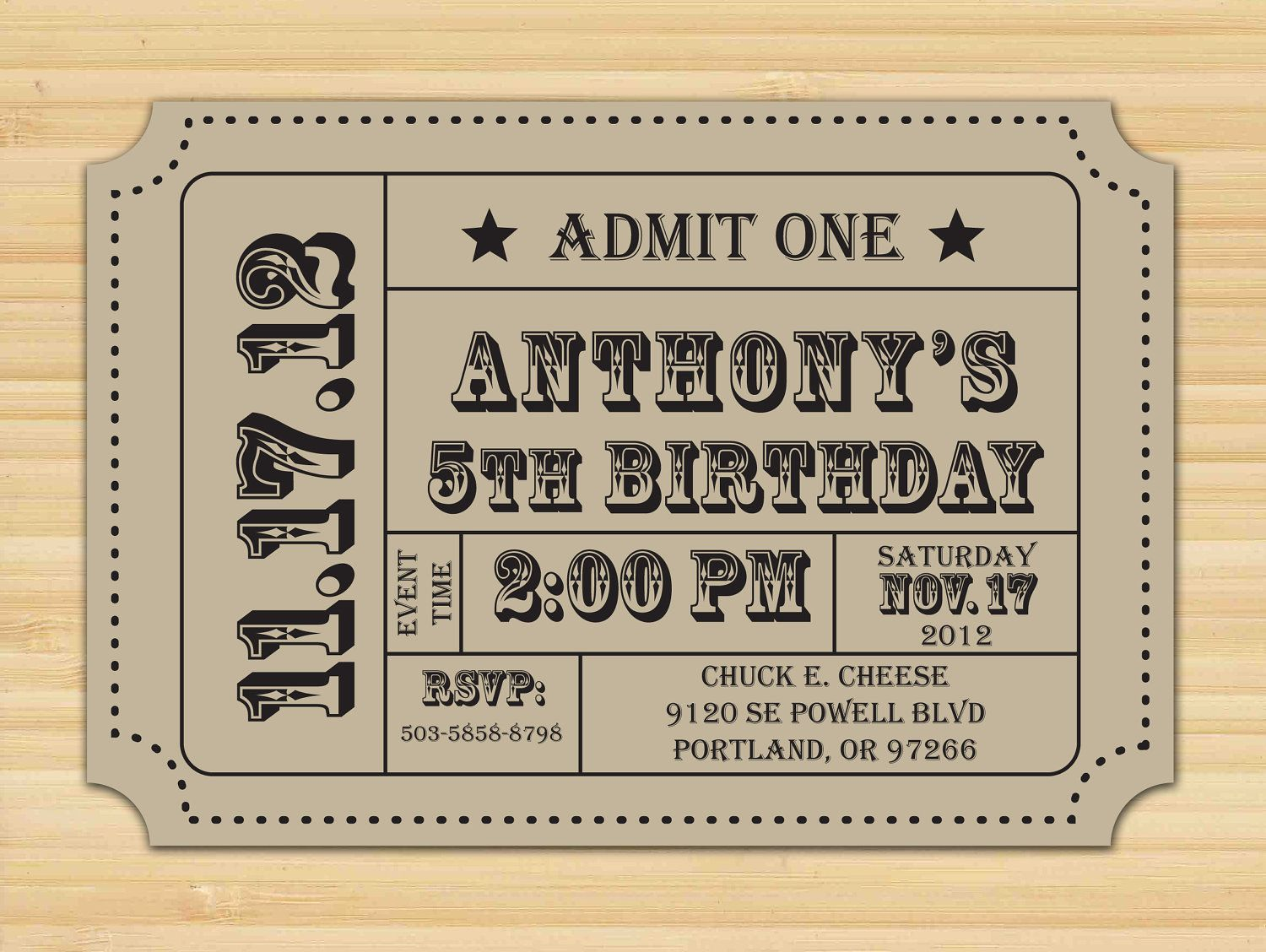 Carnival Ticket Invitation, Ticket Stub, Editable Invitation ...