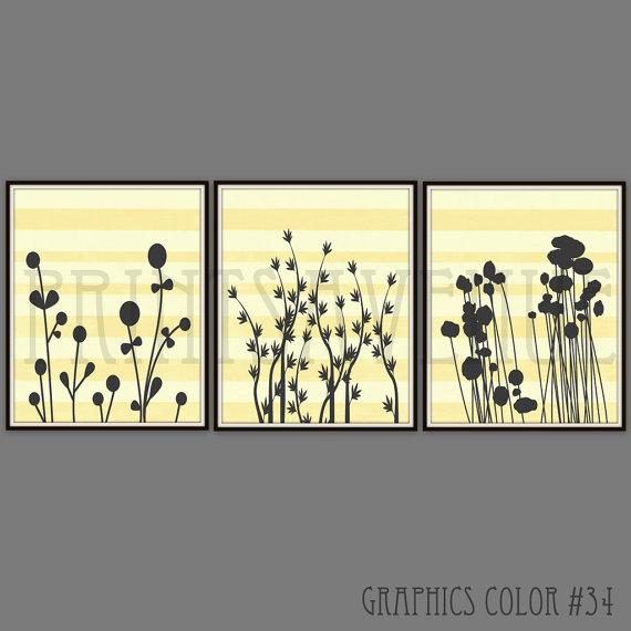 FLOWER Art Prints, Trio Wall Art, MODERN FLORAL Wall Decor, Yellow ...