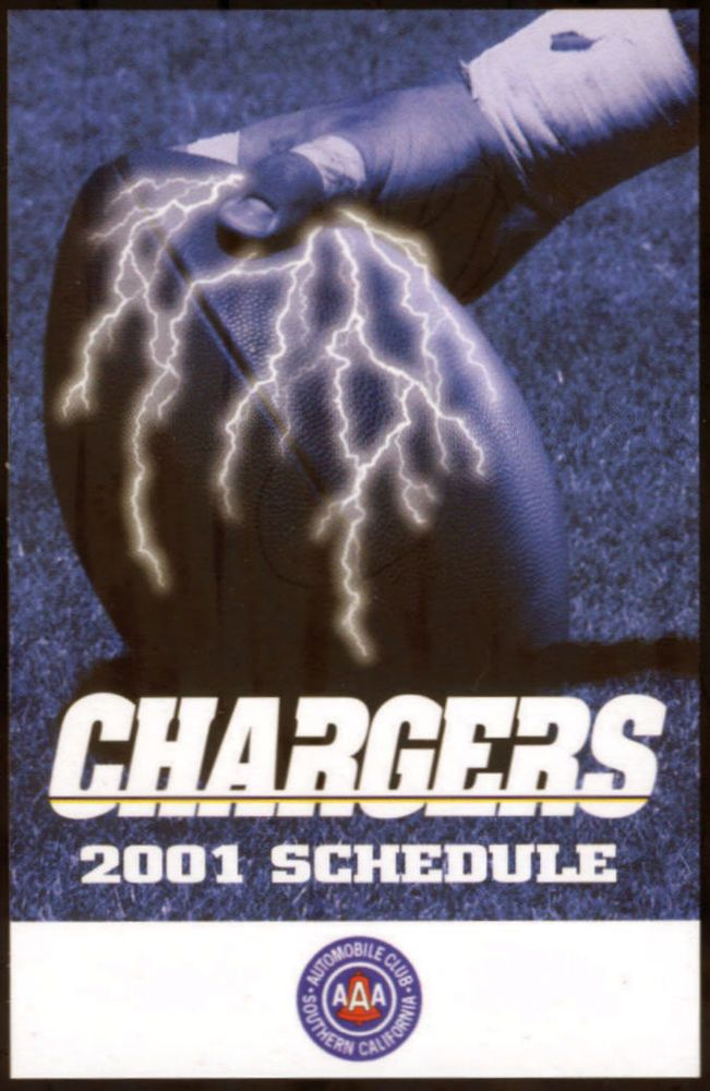 2001 SAN DIEGO CHARGERS TRIPLE AAA  FOOTBALL POCKET SCHEDULE  FREE SHIP #SCHEDULE